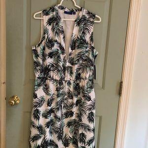 Dress.  Half zip, waist tie, pull over dress.